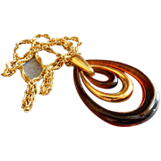 Trifari Vintage Gold-Tone & Root Beer Lucite Pendant Necklace