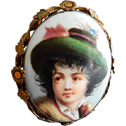 Continental Painted Porcelain Portrait Brooch/Pendant of Young Lad 1890-1920