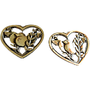 "Coro Sterling Silver - Pair ""Heart Peace"" Pins w/Pegasus Mark"