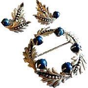 "Binder Brothers Sterling Silver & Lapis ""Wreath"" Brooch & Earrings Set"