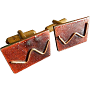 Copper Enameled Mid-Century Modernist Gentleman's Cuff Links