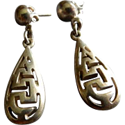 Mexican Sterling Silver Cut-Out Design Dangle Earrings - Pierced