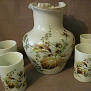 5-Piece Blown Art Glass Water Set with Enamel Decoration