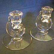 "Pair of Fostoria ""Century"" Single Candleholders"