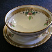 """Pickard Studio Hand Painted """"Russian Flowers"""" Series Footed Bowl with Under-Plate"""