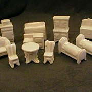 """Early 11-Piece Set  - Porcelain """"Foreign"""" Doll House Furniture"""