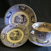 "J. Clementson Ironstone Blue Transferware ""Siam"" Pattern - 4 Pieces"