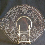 """Fostoria Etched """"Navarre"""" Oval Handled Cake Plate"""
