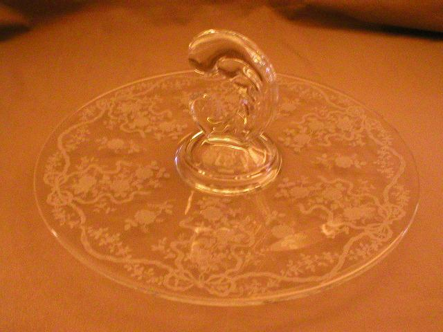"""Fostoria Etched """"Romance"""" Pattern Center Handle Tray"""