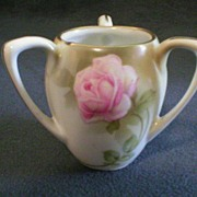 R.S.Germany (Unmarked) 3-Handle Toothpick Holder w/Rose Decoration