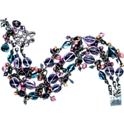 Amethyst, Sapphire and Topaz  Bracelet Sterling Silver