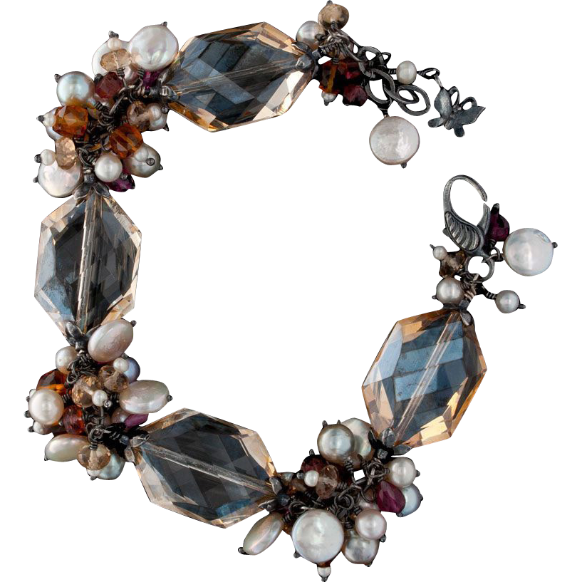 Pearl, Citrine, Quartz and Tourmaline Bracelet Sterling Silver