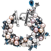 Freshwater Pearls and Topaz Sterling Silver Bracelet