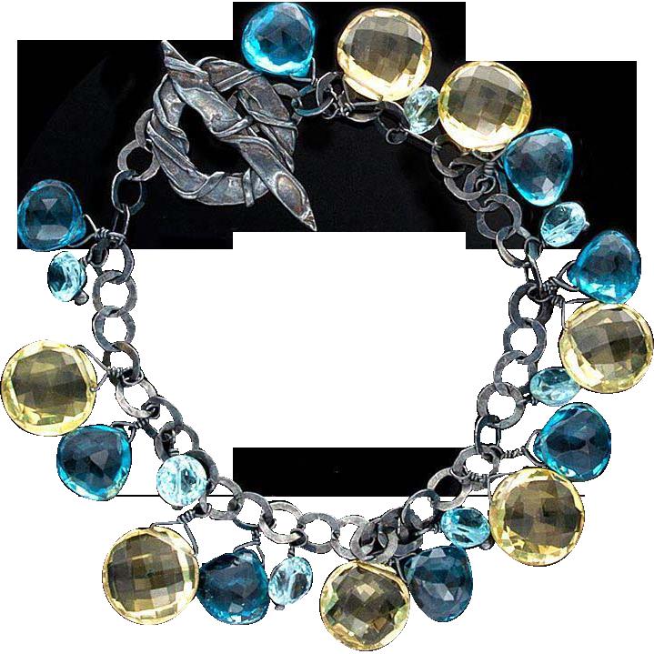 Topaz Heart-Shaped Bracelet Sterling Silver