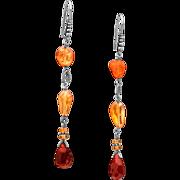 Fire Opal Sterling Silver Dangle Earrings