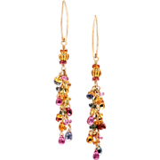 Multicolored Sapphire 18K Yellow Gold Dangle Earrings