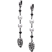 Tahitian Pearl, Rose Cut Pave Diamond, Spinel Dangle Earrings