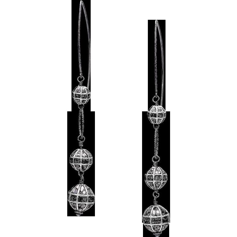 Black Diamond Pave Sterling Silver Earrings
