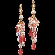 Pearl, Moonstone, Rhodocrosite 14-18k Gold Dangle Earrings