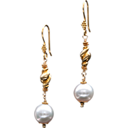 South Sea Pearl 14k and 18k Gold Dangle Earrings