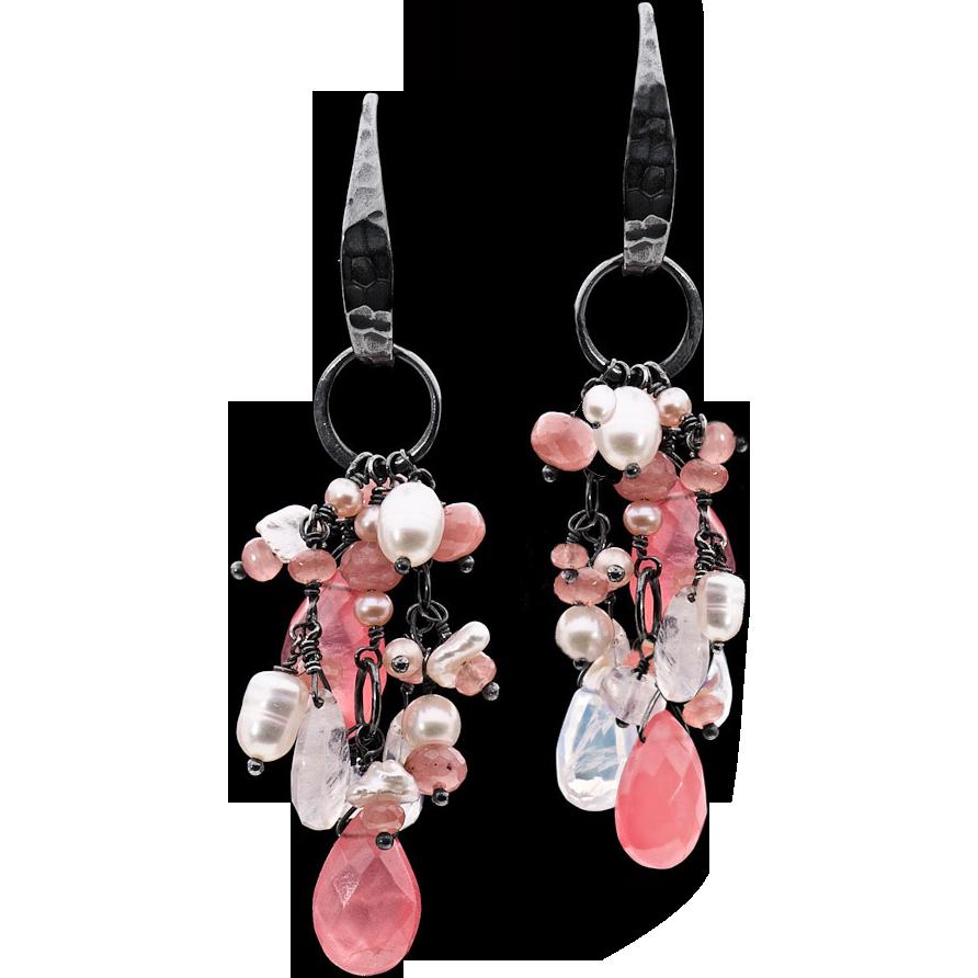 Freshwater Pearls, Moonstone and Rhodocrosite Dangle Earrings Sterling