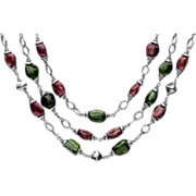 Three Stranded Tourmaline and Chrome Diopside Necklace Sterling Silver