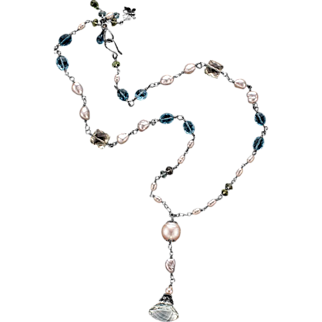 South Sea and Freshwater Pearl, Prasiolite, Topaz Sterling Silver Necklace