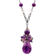 Sugilite, Opal, Quartz and Spinel Sterling Silver Necklace