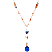 London Blue Topaz and Oregon Sunstone 14K and 18K Gold Necklace