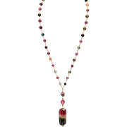 Watermelon Tourmaline 14K and 18K Yellow Gold Necklace