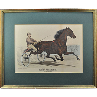 "Original Currier & Ives Hand Colored Lithograph ""Roy Wilkes"" Horse Racing Print"
