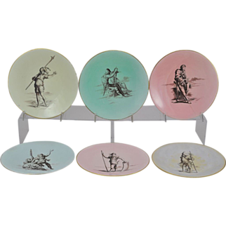 Set of 6 Antique Hand Painted 19th Century Cabinet Plates with Classical Figures