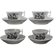 Set of 9 Pieces Spode Black Bat Print London Shape Tea Cups and Saucers