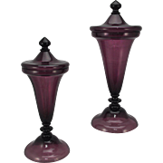 SALE Pair of Antique Pairpoint Free Blown Amethyst Tall Covered Urns