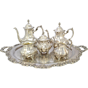 SOLD 6 Piece Poole Lancaster Rose Silver Plate Tea Set with Tray