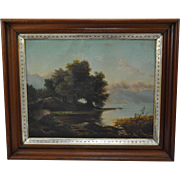 Mid 19th Century Lakeside Landscape with Long Pier Oil on Canvas