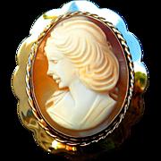 Cameo Shell Broach Gold Italian Portrait 1987 Vintage