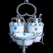 .   EPNS Stand 3 piece Porcelain table cruet spoon flower harebells maker George Jones ...