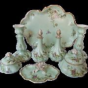 REDUCED Antique Limoges Porcelain Ladies Dresser Set, 8 pieces, C1890-1910