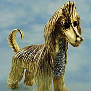 Signed Jomaz ~ Afghan Hound Gold Tone / Austrian Crystal Brooch