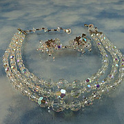 Gorgeous Triple Strand Faceted Austrian Crystal AB Rhinestone Necklace Set