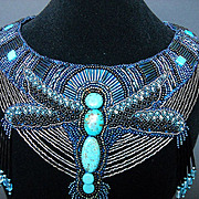 Signed  Mediterranean Blue Bead & Turquoise Dragonfly Statement Bib Necklace