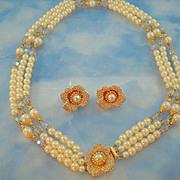 Signed Hobe Stunning Triple Strand Faux Pearl Ornate Floral Clasp Necklace Set