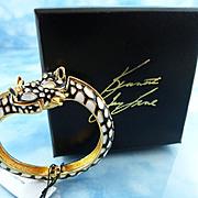 Signed Kenneth J Lane KJL Double Giraffe Head Black/White  Watch Bracelet
