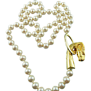 Designer Signed Les Bernard Faux Pearl Ram's Head Clasp Statement Long Necklace