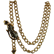 Signed KJL Kenneth Jay Lane Double Panther Chain Statement Necklace / Belt ..Book Piece.