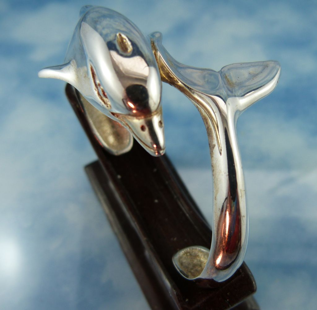 Designer Signed Heavy 40 Gram Sterling Silver Dolphin Bracelet One Of A Kind Circa 1980's