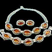 Vintage Hattie Carnegie Stunning Citrine Necklace Bracelet & Earring Set