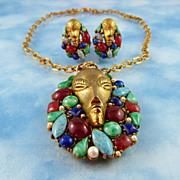 SOLD Signed Art Rare Demi Parure Tribal Mask With Semi Precious Gems