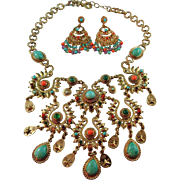 Signed RJ Graziano Runway Worthy Southwestern Style Turquoise & Multi Colored Glass ...